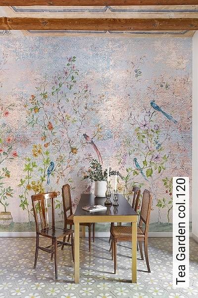 Tea-Garden-col.120-Vögel-Zeichnungen-Toile-de-Jouy-Fresco-Multicolor