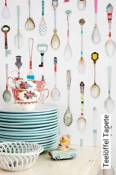 Teelöffel-Tapete-Figuren-Moderne-Muster-FotoTapeten-KinderTapeten-Weiß-Multicolor