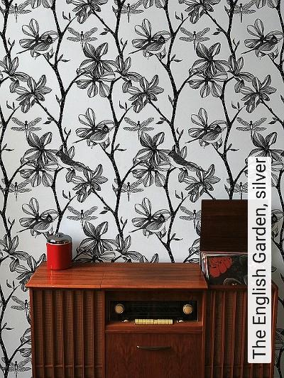 The-English-Garden,-silver-Vögel-Äste-Fauna-Moderne-Muster-Silber-Schwarz-Perlmutt