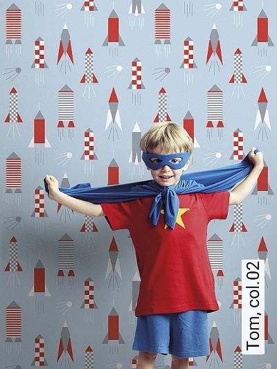 Tom,-col.02-Flugzeuge-KinderTapeten-Rot-Weiß-Hellblau