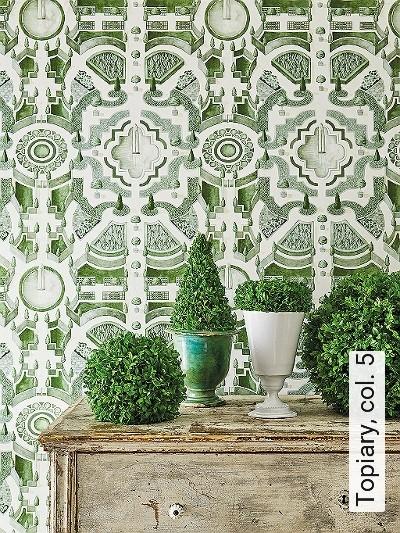 Topiary,-col.-5-Bäume-Landschaft-Florale-Muster-Grün-Creme