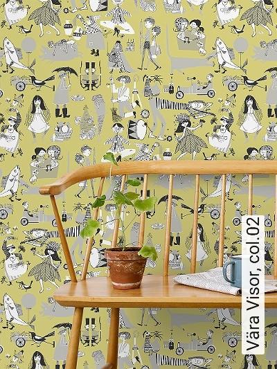 Vära-Visor,-col.02-Figuren-Gegenstände-Zeichnungen-Retro-Muster-Schwarz-Weiß-limette
