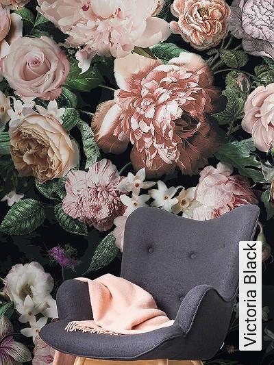 Victoria-Black-Blumen-FotoTapeten-Grün-Rosa