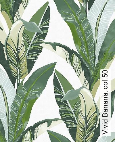 Vivid-Banana,-col.50-Blätter-Florale-Muster-Exoten-Grün-Weiß