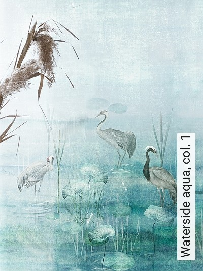 Waterside-aqua,-col.-1-Tiere-Bäume-Landschaft-Blätter-Vögel-Fauna-Florale-Muster-Moderne-Muster-FotoTapeten-Multicolor