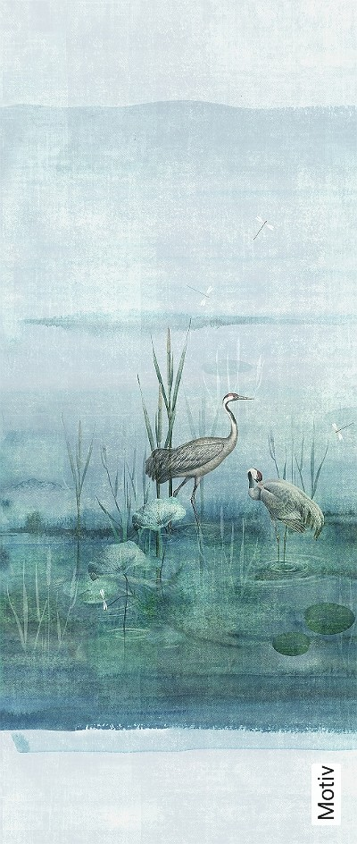 Waterside-aqua,-col.-2-Tiere-Bäume-Landschaft-Blätter-Vögel-Fauna-Florale-Muster-Moderne-Muster-FotoTapeten-Multicolor