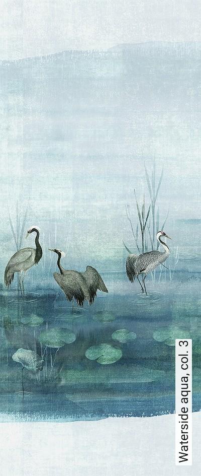 Waterside-aqua,-col.-3-Tiere-Landschaft-Blätter-Vögel-Aquarell-Fauna-Florale-Muster-Moderne-Muster-FotoTapeten-Multicolor