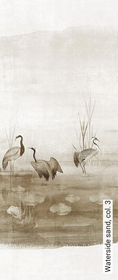 Waterside-sand,-col.-3-Tiere-Bäume-Landschaft-Blätter-Vögel-Fauna-Florale-Muster-Moderne-Muster-FotoTapeten-Braun-Creme