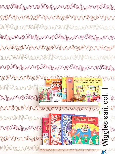 Wiggles-sari,-col.-1-Streifen-Wellen-KinderTapeten-Rot-Gold-Orange-Weiß