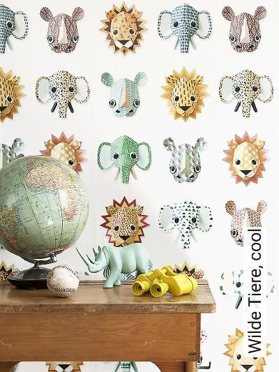 Wilde-Tiere,-cool-Tiere-FotoTapeten-KinderTapeten-Weiß-Multicolor