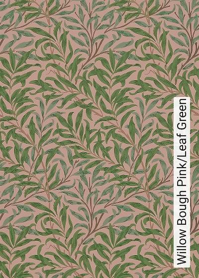 Willow-Bough-Pink/Leaf-Green-Blätter-Klassische-Muster-Florale-Muster-Grün-Braun-Rosa