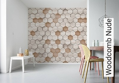 Woodcomb-Nude-Kachel-Holz-3D-Tapeten-FotoTapeten-Creme-Hellbraun