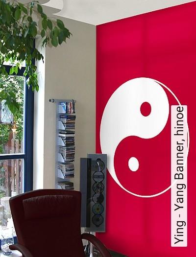 Ying---Yang-Banner,-hinoe-Kreise-Ornamente-Moderne-Muster-FotoTapeten-Rot-Weiß