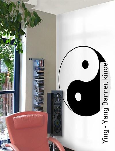 Ying---Yang-Banner,-kinoe-Kreise-Ornamente-Moderne-Muster-Anthrazit-Weiß
