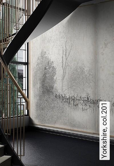 Yorkshire,-col.201-Blumen-Bäume-Landschaft-Blätter-Äste-Florale-Muster-Schwarz-und-Weiß