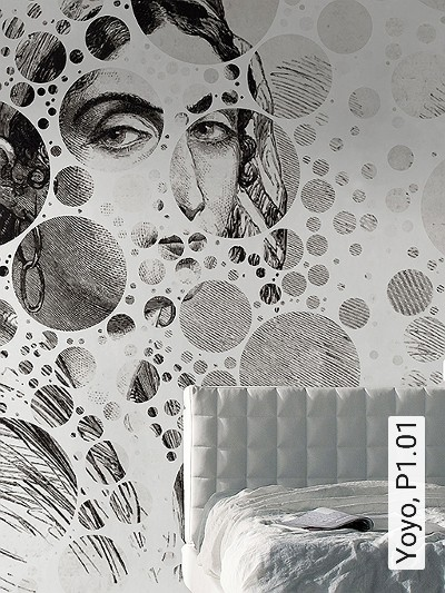 Yoyo,-P1.01-Kreise-Gitter-Figuren-Moderne-Muster-FotoTapeten-Schwarz-Weiß-Perlmutt
