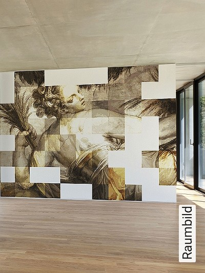 Yoyo,-P1.03-Figuren-Kachel-Moderne-Muster-FotoTapeten-Grau-Braun-Weiß-Ocker