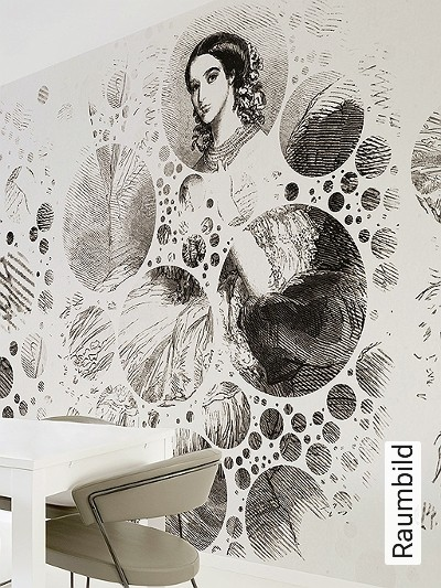 Yoyo,-P1.05-Kreise-Gitter-Figuren-Moderne-Muster-FotoTapeten-Schwarz-Weiß-Perlmutt