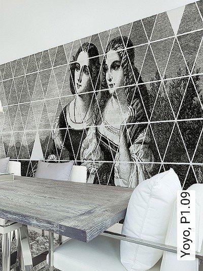 Yoyo,-P1.09-Figuren-Zeichnungen-Dreiecke-Moderne-Muster-FotoTapeten-Grau-Schwarz-Weiß-Perlmutt