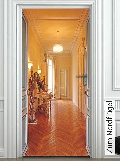 Zum-Nordflügel-Türen-FotoTapeten-Braun-Gelb-Weiß
