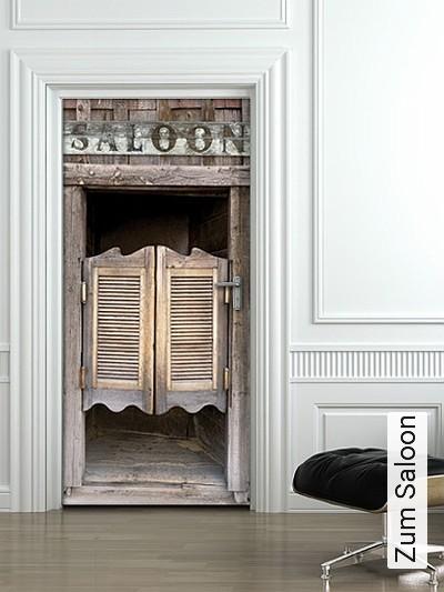 Zum-Saloon-Kunst-Türen-FotoTapeten-Grau-Braun-Anthrazit