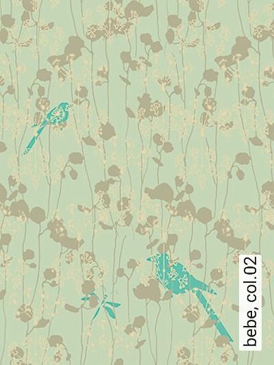 bebe,-col.02-Blumen-Vögel-Florale-Muster-Grau-Türkis-Hellgrün-Creme