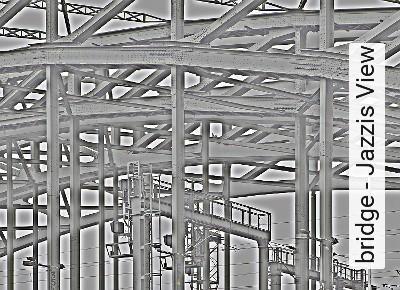 bridge---Jazzis-View-Gegenstände-Wolken-Moderne-Muster-FotoTapeten-Blau-Weiß-Multicolor
