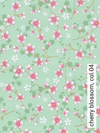 cherry-blossom,-col.04-Blumen-kl.-Blümchen-Florale-Muster-Rosa-Weiß-Perlmutt-Hellbraun-mint