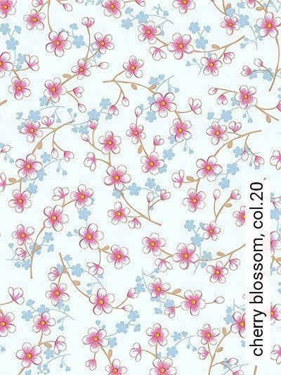 cherry-blossom,-col.20-Blumen-kl.-Blümchen-Florale-Muster-Gelb-Rosa-Weiß-Perlmutt-Hellbraun-mint