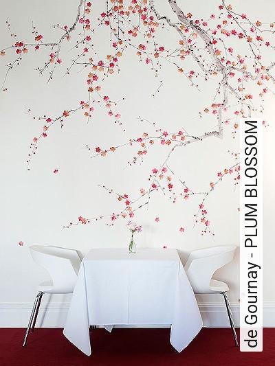 de-Gournay---PLUM-BLOSSOM-Blumen-Blätter-Äste-Florale-Muster-Rot-Orange-Hellbraun