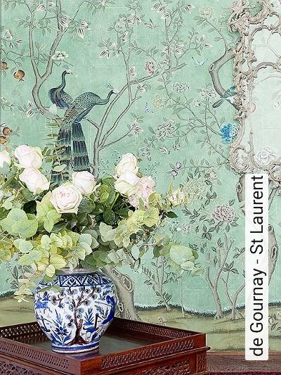 de-Gournay---St-Laurent-Blumen-Tiere-Bäume-Blätter-Vögel-Äste-Vintage-Tapeten-Klassische-Muster-Fauna-Florale-Muster-FotoTapeten-Multicolor