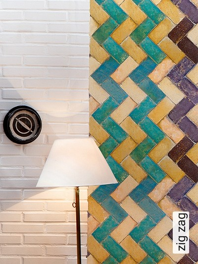 zig-zag-Quadrate/Rechtecke-Zickzack-Moderne-Muster-Braun-Türkis-Ocker
