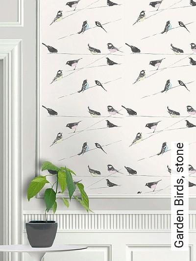 Bild: Tapeten - Garden Birds, stone