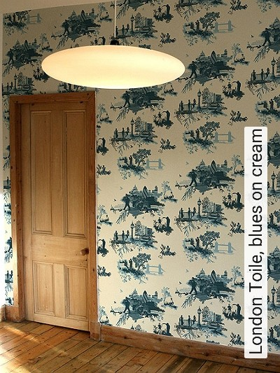 Bild: Tapeten - London Toile, blues on cream