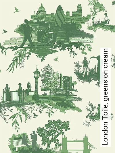Bild: Tapeten - London Toile, greens on cream