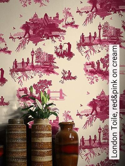 Bild: Tapeten - London Toile, red&pink on cream