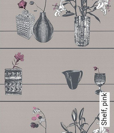 Bild: Tapeten - Shelf, pink