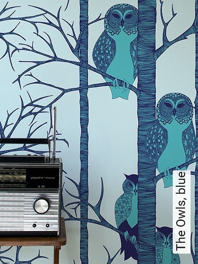 Bild: Tapeten - The Owls, blue