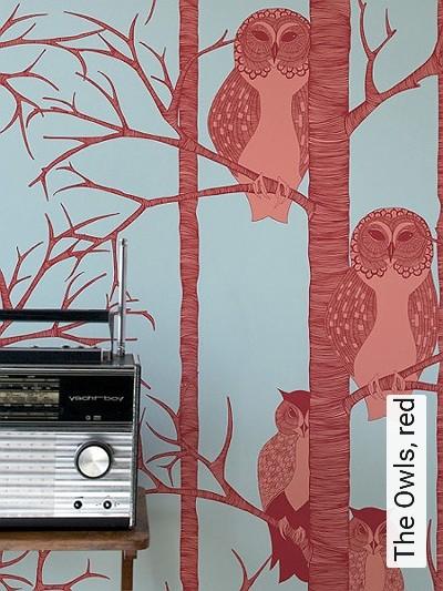 Bild: Tapeten - The Owls, red