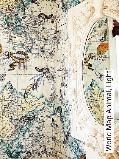 Bild: Tapeten - World Map Animal, Light