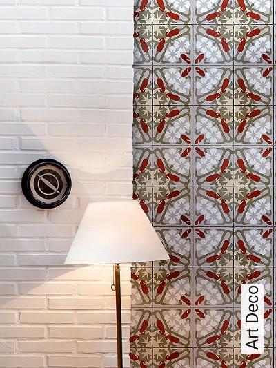 Art-Deco-Kachel-Art-Deco-Rot-Grau-Olive-Creme