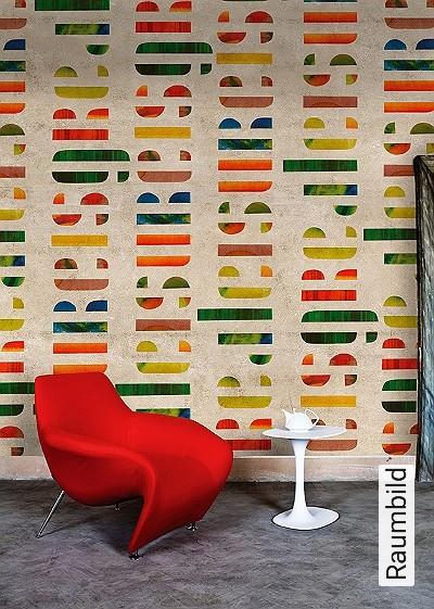 Leisure-is-great-Buchstaben-Patina-Moderne-Muster-Bronze-Multicolor-Hellbraun