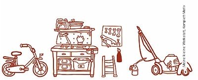 Meine-kleine-Werkstatt,-Komplett-Motiv-KinderTapeten-Rot