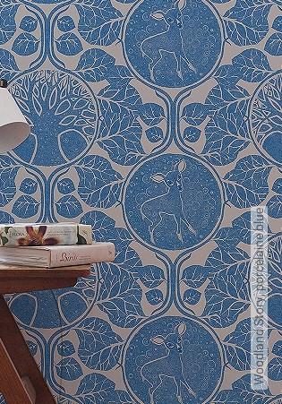 Bild Tapete - Woodland Story, porcelaine blue
