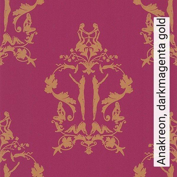 anakreon darkmagenta gold ornamente figuren klassische muster rot - Tapete Rot Muster