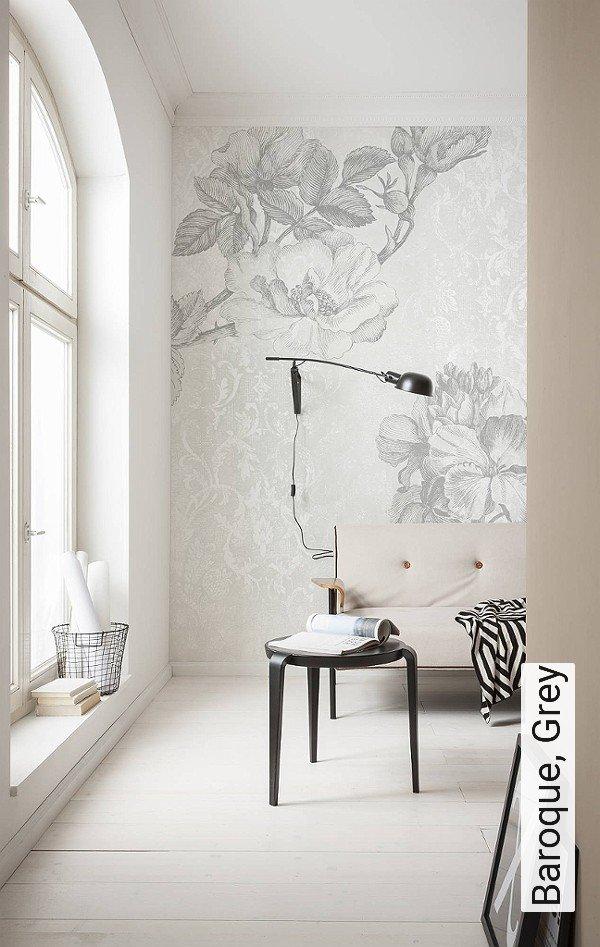 Baroque, Grey Blumen FotoTapeten Grau Weiß