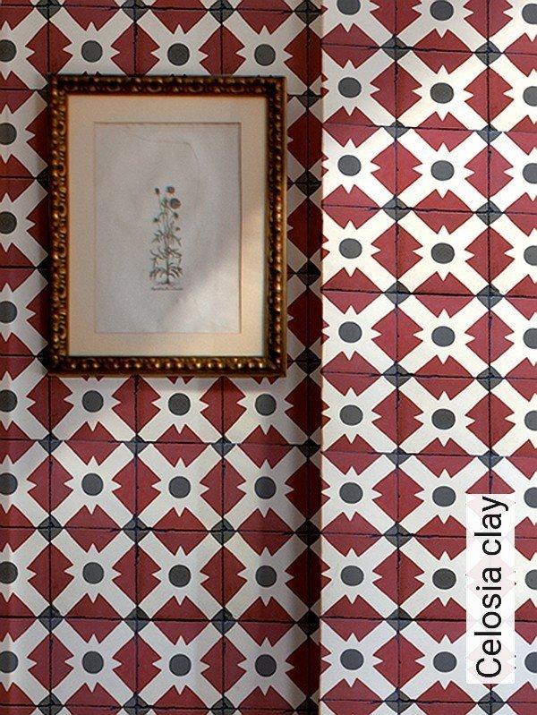 celosia clay kachel retro muster rot grau wei - Tapete Rot Muster