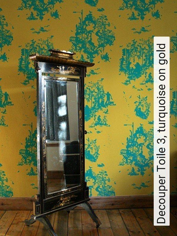 Tapete Decouper Toile 3, turquoise on gold   Die TapetenAgentur