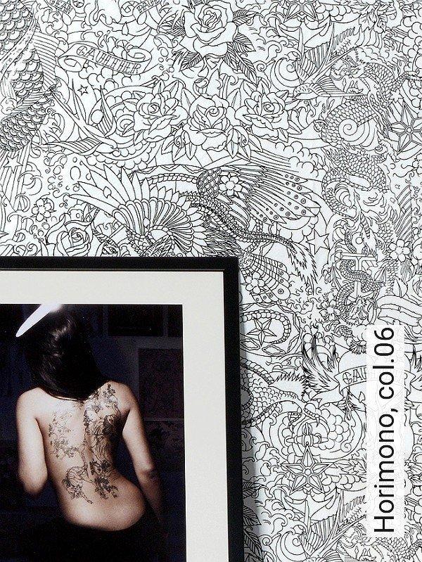 horimono col06 zeichnungen moderne muster schwarz wei - Tapete Schwarz Weis Muster