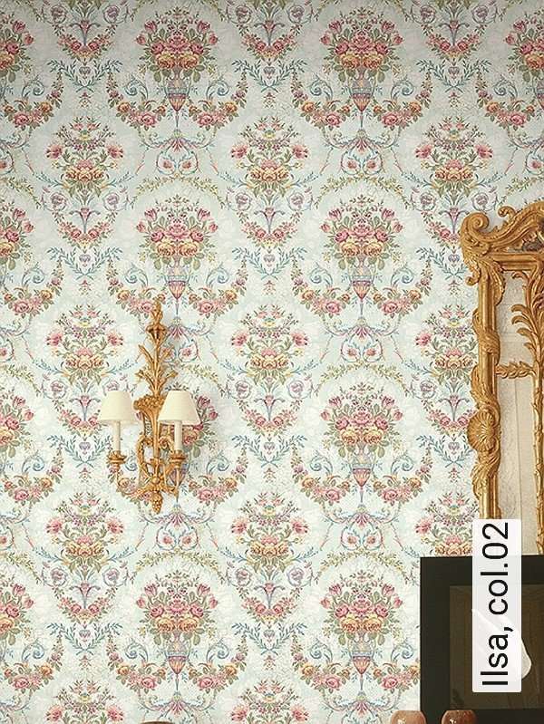 ilsa col02 ornamente blumen klassische muster grau - Tapete Muster Grau